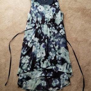 Large Blue floral dress with tie in the back